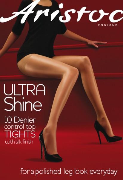 Aristoc - Ultra Shine 10 Denier Control Top punčocháče s hedvábným povrchem