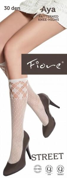Fiore - Patterned fishnet knee highs Aya 30 denier