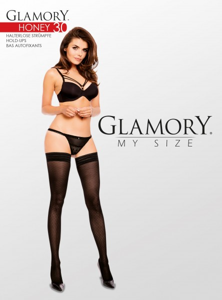 Glamory - Plus size mock fishnet hold ups