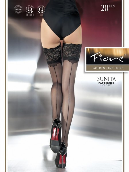 Fiore - Back seam hold ups with decorative lace top Sunita 20 denier
