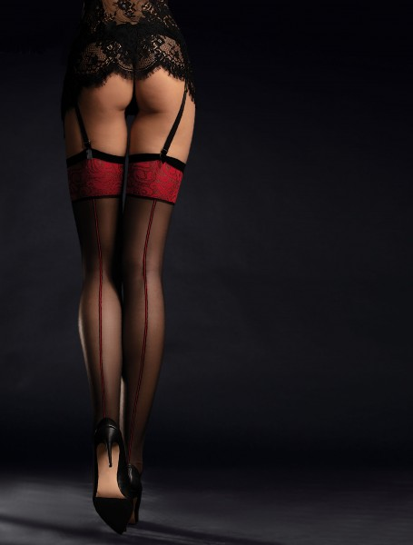 Fiore Scarlett - Back seam stockings with a close fitting patterned flat top