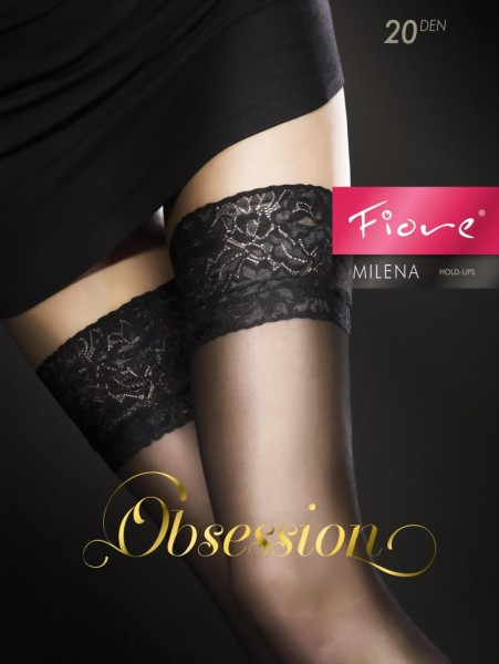 Fiore - Classic hold ups with decorative lace top Milena 20 denier