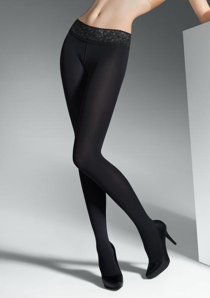 Marilyn - Hipster punčocháče s elegantním krajkovým povrchovou úpravou v pravém horním Vita Bassa 100 DEN