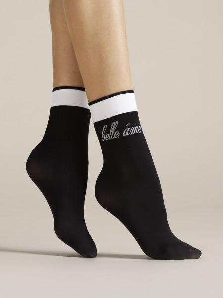 Fiore Belle Ame - 40 denier opaque socks with elegant black and white design